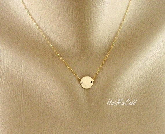 Initial Necklace, Solitary Disc Charm Necklace GOLD Filled, Simple Daily Jewelry, Birthday, Bridesmaid Jewelry, Mothers Necklace