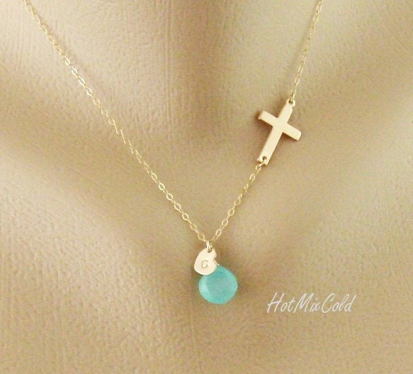 personalized sideways cross necklace initial charm necklace