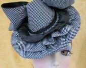 Tilt Hat - Doll Hat - Burlesque Hat Black and White Gingham