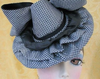 Tilt Hat - Doll Hat - Burlesque Hat Black and White Gingham