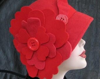 1920s Cloche Hat in Red Wool Flapper Hat