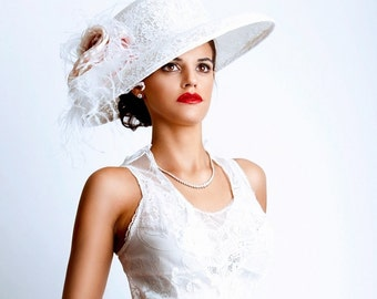 Kentucky Derby Hat - Big brimmed white lace hat