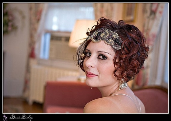 RESERVED listing Great Gatsby Flapper Headband, Beaded Headband, Wedding Headband - Lanvin