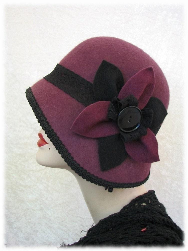 Cloche Hat Wool 1920s Flapper Hat FannyMae