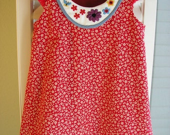 Size 3 Red A-Line Dress With Embroidery