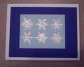 Hand Stamped, Embossed, Snowflakes Christmas or Hanukkah Card