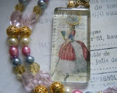 Marie Antoinette Glass Pendant Necklace, Beaded Accents, Feminine, Pearls