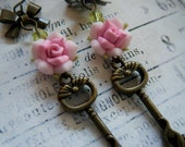 Antique Brass Key Earrings with Pink Roses, Cats, Keys, Feminine, Whimsical, Boho