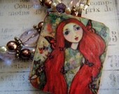 Butterfly Faerie Beaded Necklace, Wooden Pendant, Fairies, Fairy Tales, Red, Whimsical