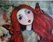 Red Haired Butterfly Faerie Fine Art Giclee Print, 8 x 10, Fantasy, Fairies, Wall Art, Reproduction Art, Children's Art