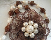 Chocolate Brown Lace Brooch Necklace with Pearls and Beads, Victorian, Feminine