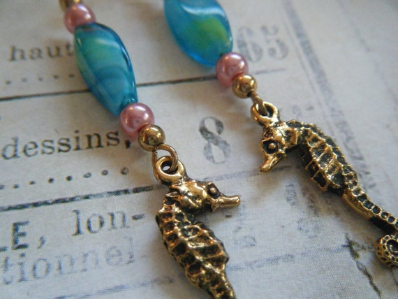 Gold Seahorse Earrings with Turquoise Beads, Pink Accents, Beach, Ocean, Summer