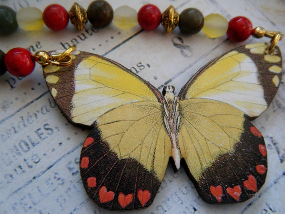 Yellow Butterfly Necklace, Colorful Beads, Gold Accents, Nature, Entomology
