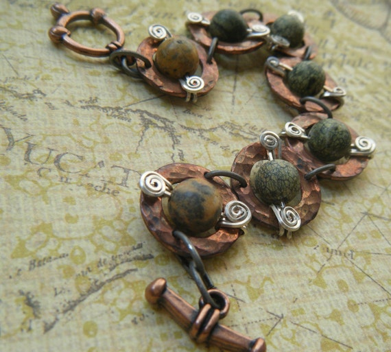 Green Beaded Copper Washer Bracelet with Silver Spiral Accents, Mystic Moons, Goddess Inspired, Earthy