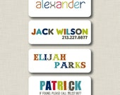 SALE Iron On Clothing Labels - Colorful Name Boy Personalized Labels - Set of 30
