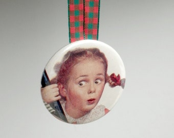 Vintage Girl With Pigtails Pocket Mirror Christmas Ornament