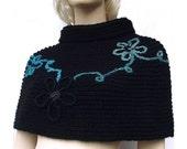 Fleur - Black Capelet Poncho - Handmade