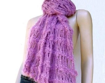 Crocheted Fluffy Pink Wrap, Shawl, Scarf, Stole