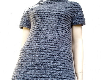 Super Chunky Grey Tunic Sweater - Mini Dress - Pure Wool