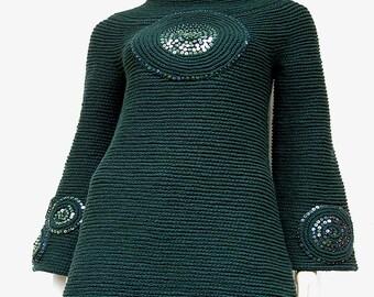 Chunky Dark Green Sweater Tunic Mini Dress - Wool and Camel Yarn