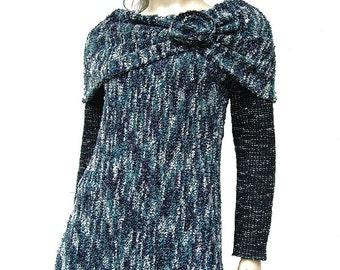 Blue and Green Sweater Tunic Mini Dress