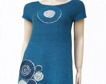 100% Cotton Embellished Teal Blue Sweater Tunic Short Sleeves - Handmade