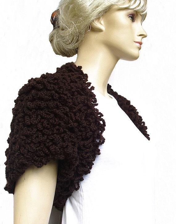Chocolat- Brown Bolero Shrug Loop Design