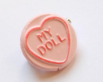 Pink Loveheart Brooch