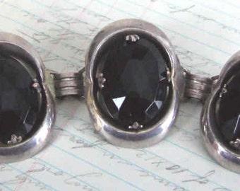 VINTAGE black and silvertone BRACELET