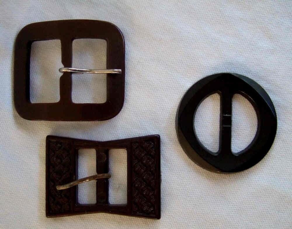 3 Vintage Brown Plastic Belt Buckles Scarf Slides