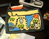 Pirate Secret Treasure Map painted Wristlet  X marks the Spot