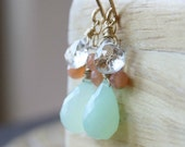 mint green gemstone earrings, chalcedony faceted stones gold