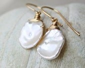 CIJ  Pearl earrings, white bridal wedding jewelry, gold, keishi pearl