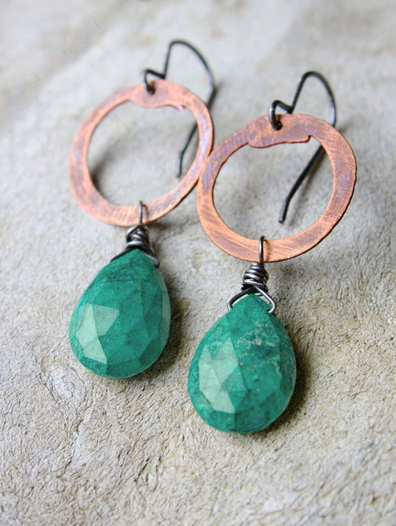 turquoise earrings blue green chrysocolla rustic copper circle gift under 50