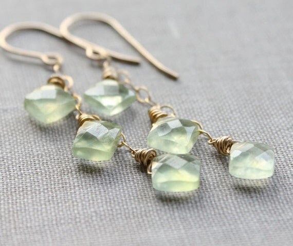 mint green earrings, gemstone earrings, fall fashion faceted gold wire wrapped jewelry