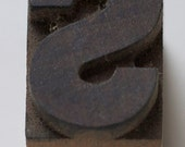 "FREE SHIPPING Vintage Letter Press Wood Letter ""S"""