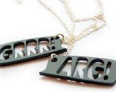 SALE Grr and Arg Necklace set monster laser cut plastic BLACK