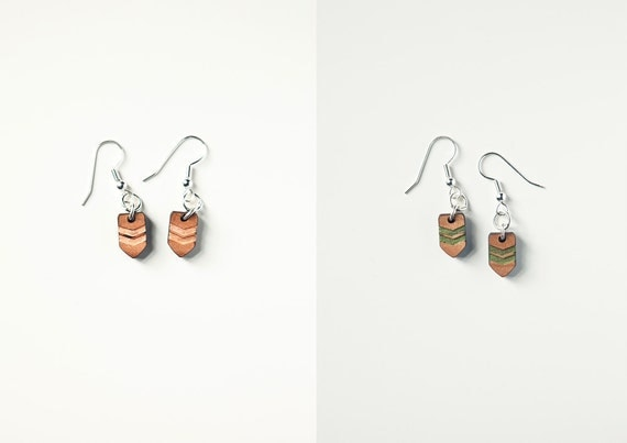 Wooden hand painted Navajo inspired Chevron Earrings