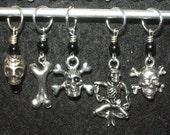 Mixed set of skulls, skeletons and bones with black druks - set of five