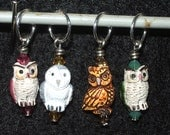 Reserved listing - Owls - mixed set of four with corresponding crystal