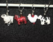 Farm animals - mixed set of four with corresponding crystal - cow, chicken, horse and sheep