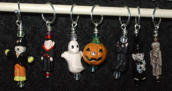 Halloween stitch markers - set of 7 - mixed ceramic charms with matching crystal