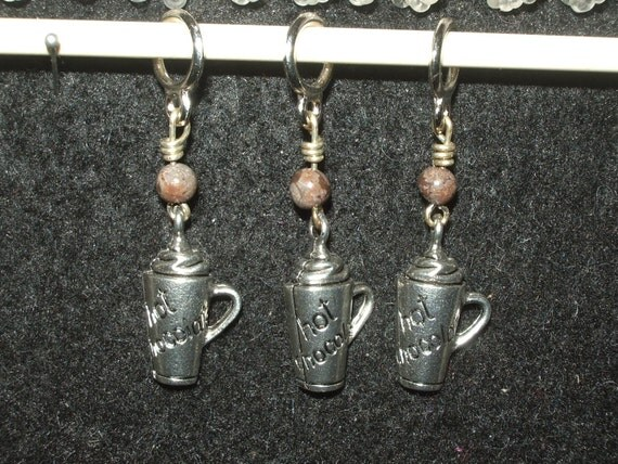 SUPER SALE - hot chocolate charms with picasso jasper rounds - set of three