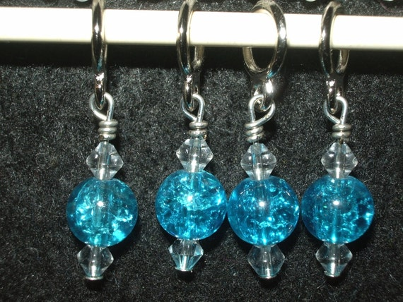 SUPER SALE - BLue and clear beaded stitch markers - set of 4