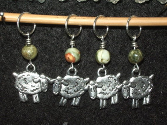Pewter Sheep Stitch Markers with rhyolite - set of four
