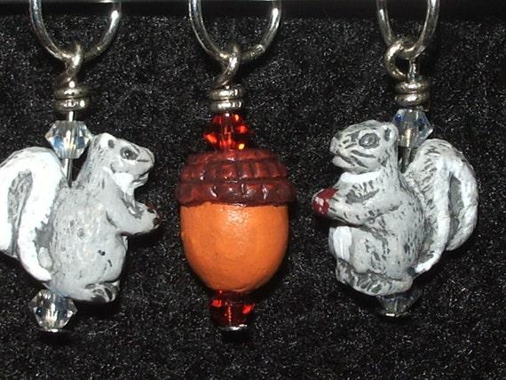 Ceramic acorn and squirrel stitch markers with light colorado topaz or black diamond swarovski crystal - set of four