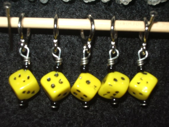 SUPER SALE - yellow and black dice stitch markers with black seed beads - set of five
