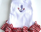 Dog Dresses  Red White and Blue Nautical Anchor Boating Season Summer dog Dress Sail Away All Sizes Red Stripe