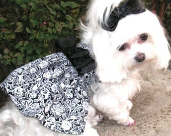 Dog clothes Black and White Parisian Dog Dress all sizes Dog Clothes Black and White Floral