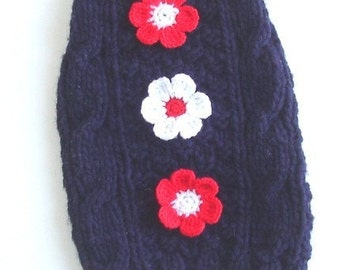 Dog Sweater Cable Knit in Navy Blue Size Small 10 inch length